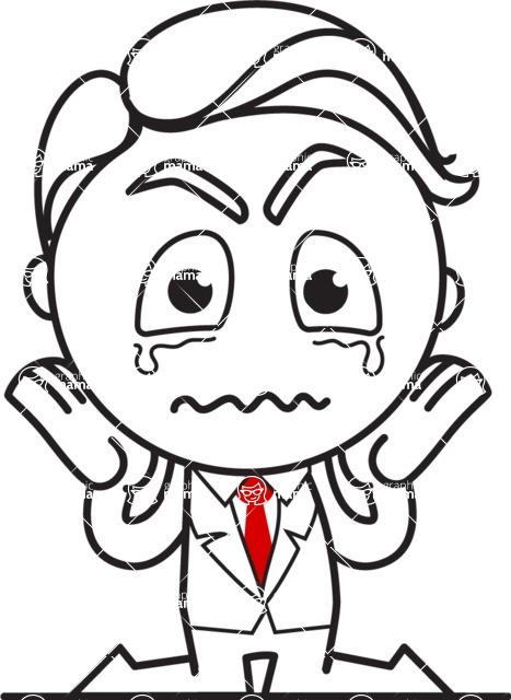 Outline Man in Suit Cartoon Vector Character AKA Ben the Banker - Sad