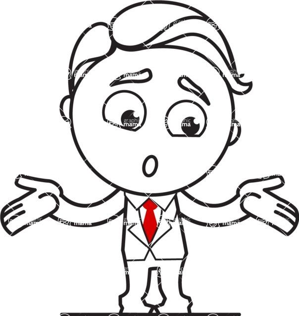 Outline Man in Suit Cartoon Vector Character AKA Ben the Banker - Lost