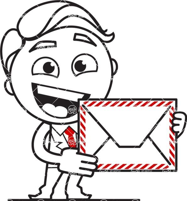 Outline Man in Suit Cartoon Vector Character AKA Ben the Banker - Letter
