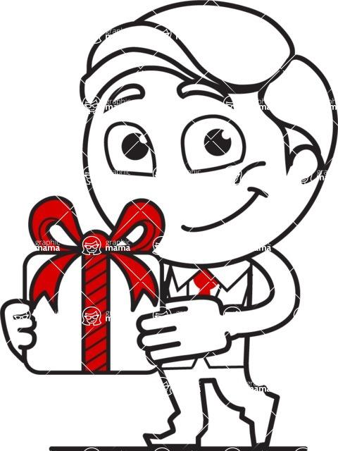 Outline Man in Suit Cartoon Vector Character AKA Ben the Banker - Gift