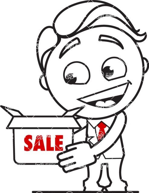 Outline Man in Suit Cartoon Vector Character AKA Ben the Banker - Sale