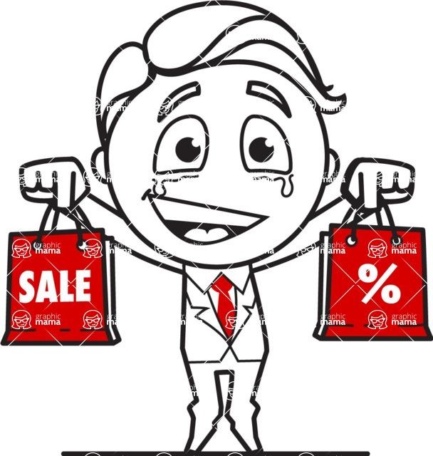 Outline Man in Suit Cartoon Vector Character AKA Ben the Banker - Sale2