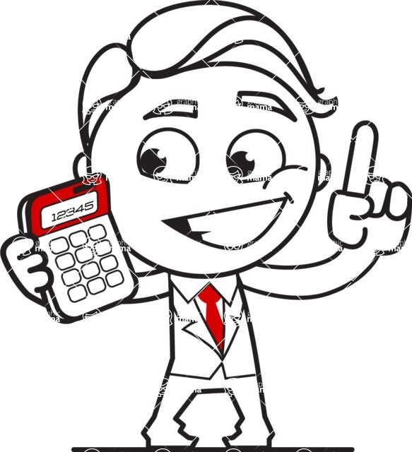 Outline Man in Suit Cartoon Vector Character AKA Ben the Banker - Calculator