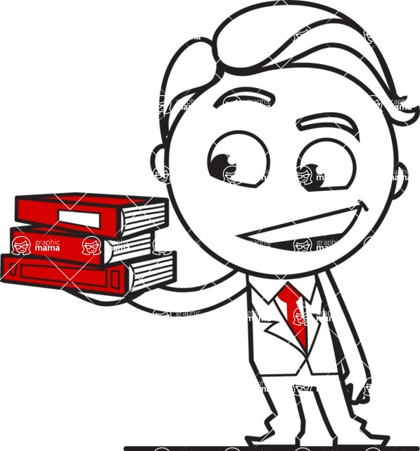 Outline Man in Suit Cartoon Vector Character AKA Ben the Banker - Book 2
