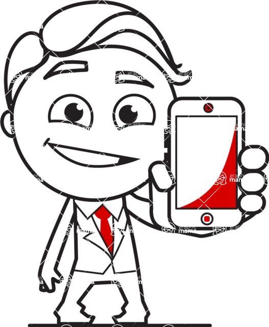 Outline Man in Suit Cartoon Vector Character AKA Ben the Banker - iPhone