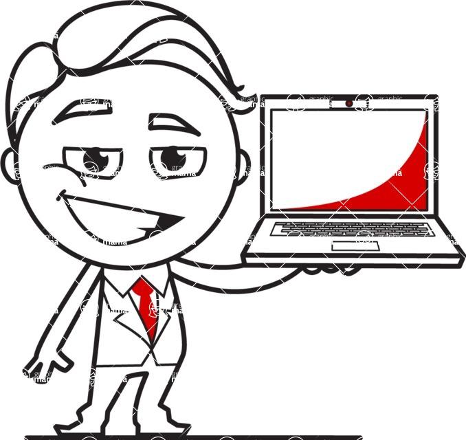 Outline Man in Suit Cartoon Vector Character AKA Ben the Banker - Laptop 2