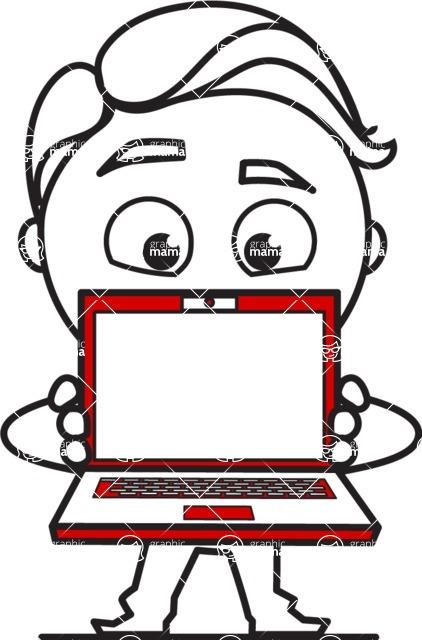 Outline Man in Suit Cartoon Vector Character AKA Ben the Banker - Laptop 3