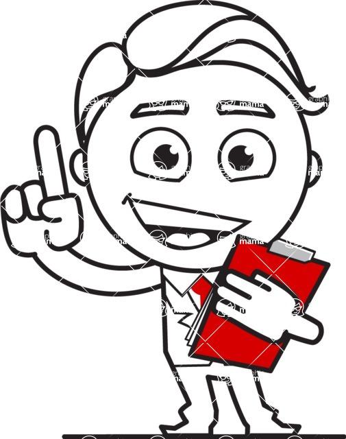 Outline Man in Suit Cartoon Vector Character AKA Ben the Banker - Notepad 2