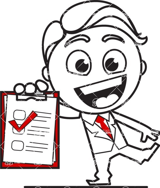 Outline Man in Suit Cartoon Vector Character AKA Ben the Banker - Notepad 3