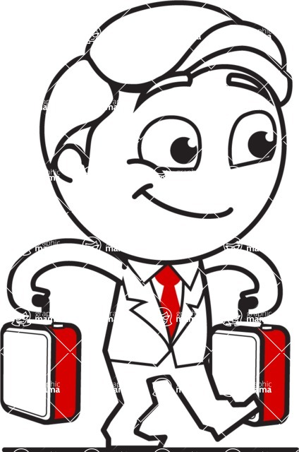 Outline Man in Suit Cartoon Vector Character AKA Ben the Banker - Brifcase 3