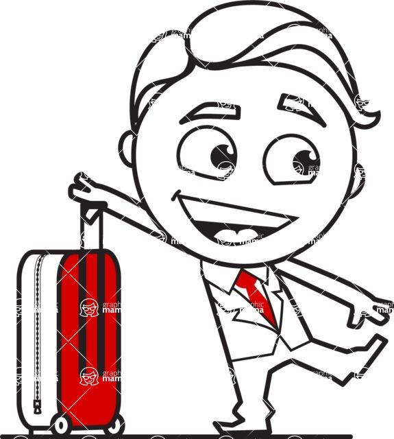 Outline Man in Suit Cartoon Vector Character AKA Ben the Banker - Travel 1