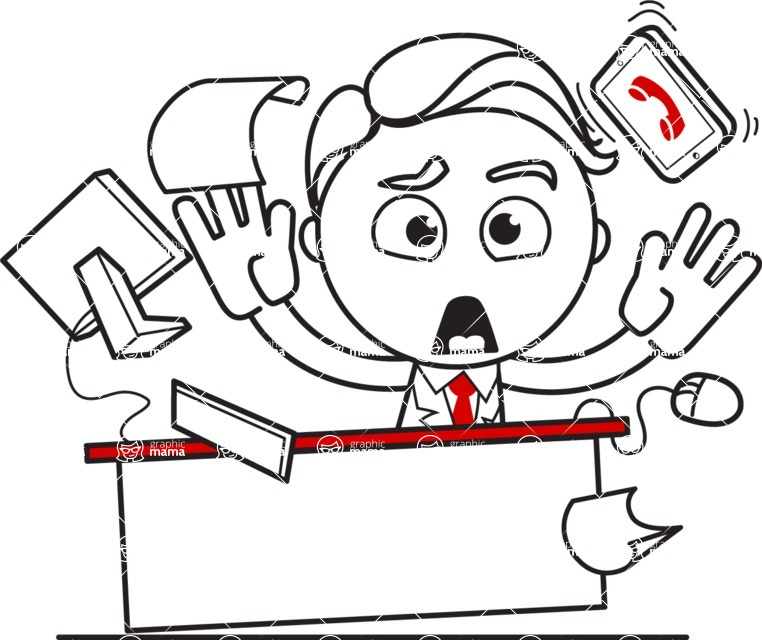Outline Man in Suit Cartoon Vector Character AKA Ben the Banker - Office Fever