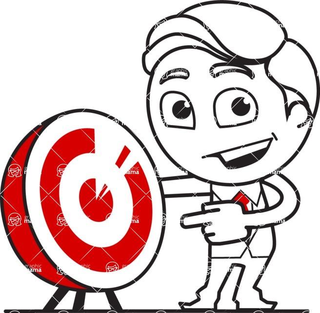 Outline Man in Suit Cartoon Vector Character AKA Ben the Banker - Target