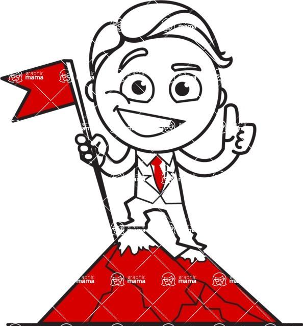 Outline Man in Suit Cartoon Vector Character AKA Ben the Banker - On Top