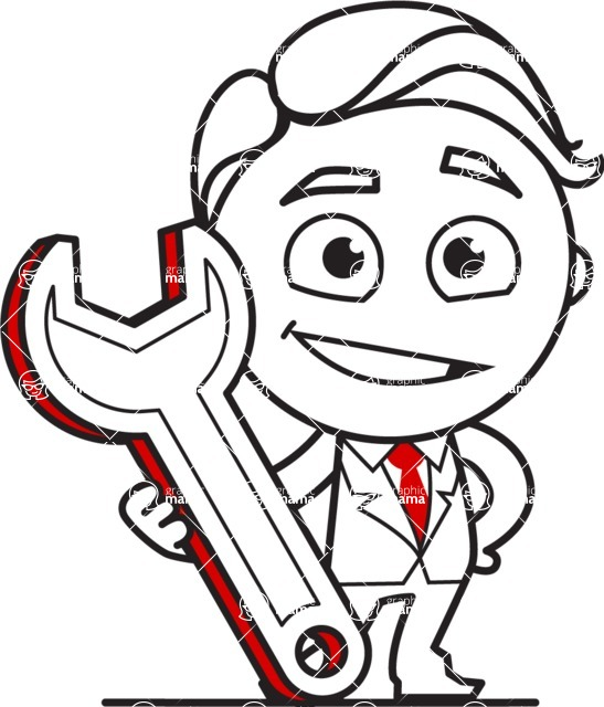Outline Man in Suit Cartoon Vector Character AKA Ben the Banker - Repair