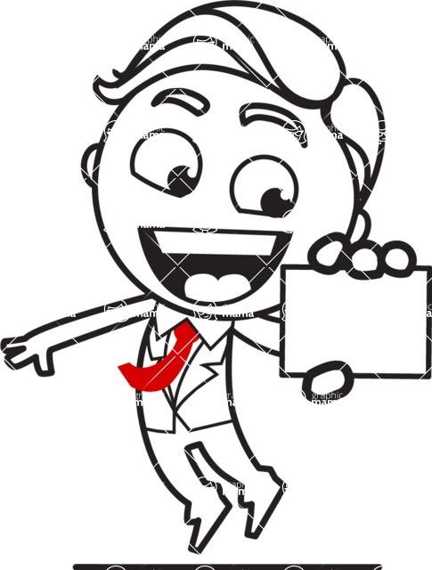 Outline Man in Suit Cartoon Vector Character AKA Ben the Banker - Sign 1