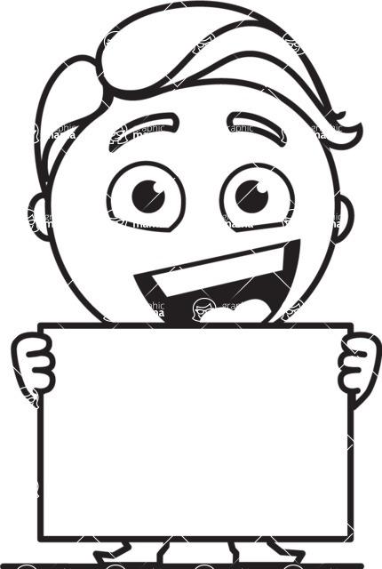 Outline Man in Suit Cartoon Vector Character AKA Ben the Banker - Sign 5