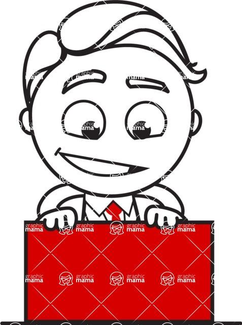 Outline Man in Suit Cartoon Vector Character AKA Ben the Banker - Sign 6
