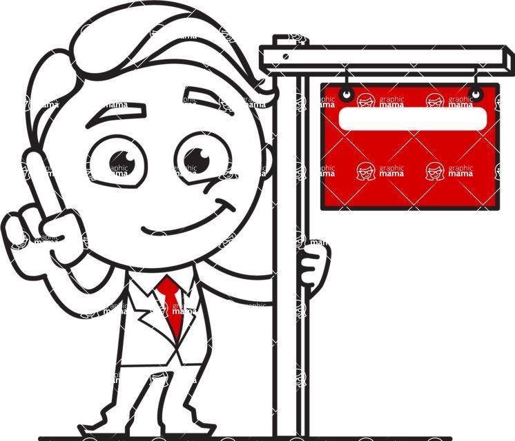 Outline Man in Suit Cartoon Vector Character AKA Ben the Banker - Sign 9