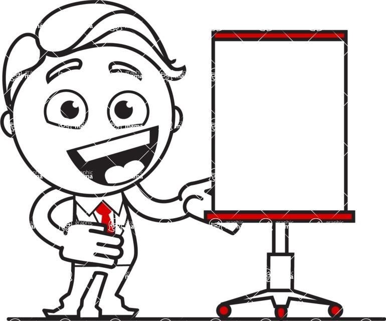 Outline Man in Suit Cartoon Vector Character AKA Ben the Banker - Presentation 1