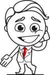 Outline Man in Suit Cartoon Vector Character AKA Ben the Banker - Oops