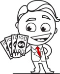 Outline Man in Suit Cartoon Vector Character AKA Ben the Banker - Show me the Money
