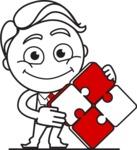 Outline Man in Suit Cartoon Vector Character AKA Ben the Banker - Puzzle