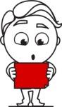 Outline Man in Suit Cartoon Vector Character AKA Ben the Banker - Sign 4