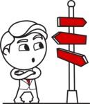 Outline Man in Suit Cartoon Vector Character AKA Ben the Banker - Crossroad