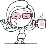 Flat Linear Business Woman Cartoon Vector Character AKA Val - Coffee
