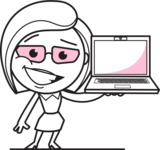 Flat Linear Business Woman Cartoon Vector Character AKA Val - Laptop 2