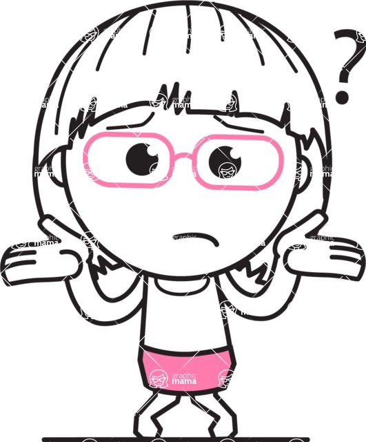 Little Flat Linear Girl Cartoon Vector Character Aka Vicky