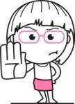 Little Flat Linear Girl Cartoon Vector Character AKA Vicky - Stop