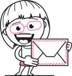 Little Flat Linear Girl Cartoon Vector Character AKA Vicky - Letter
