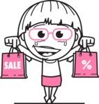 Little Flat Linear Girl Cartoon Vector Character AKA Vicky - Sale2
