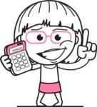 Little Flat Linear Girl Cartoon Vector Character AKA Vicky - Calculator