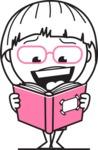 Little Flat Linear Girl Cartoon Vector Character AKA Vicky - Book 1