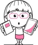 Little Flat Linear Girl Cartoon Vector Character AKA Vicky - Book and iPad