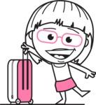 Little Flat Linear Girl Cartoon Vector Character AKA Vicky - Travel 1