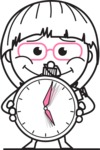 Little Flat Linear Girl Cartoon Vector Character AKA Vicky - Time is Yours