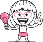 Little Flat Linear Girl Cartoon Vector Character AKA Vicky - Idea 1