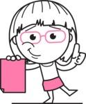 Little Flat Linear Girl Cartoon Vector Character AKA Vicky - Sign 2