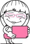 Little Flat Linear Girl Cartoon Vector Character AKA Vicky - Sign 3