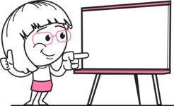 Little Flat Linear Girl Cartoon Vector Character AKA Vicky - Presentation 2