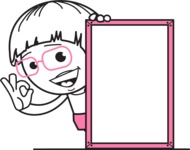 Little Flat Linear Girl Cartoon Vector Character AKA Vicky - Presentation 4