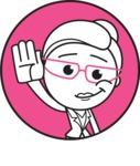 Black and White Office Woman Cartoon Vector Character AKA Drew - Shape 1