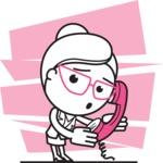 Black and White Office Woman Cartoon Vector Character AKA Drew - Shape 11