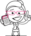 Black and White Office Woman Cartoon Vector Character AKA Drew - Calculator