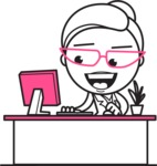 Black and White Office Woman Cartoon Vector Character AKA Drew - Laptop 1