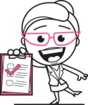 Black and White Office Woman Cartoon Vector Character AKA Drew - Notepad 3